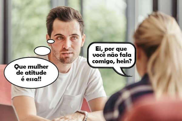 diálogo entre homem e mulher sobre voltar a falar um com o outro