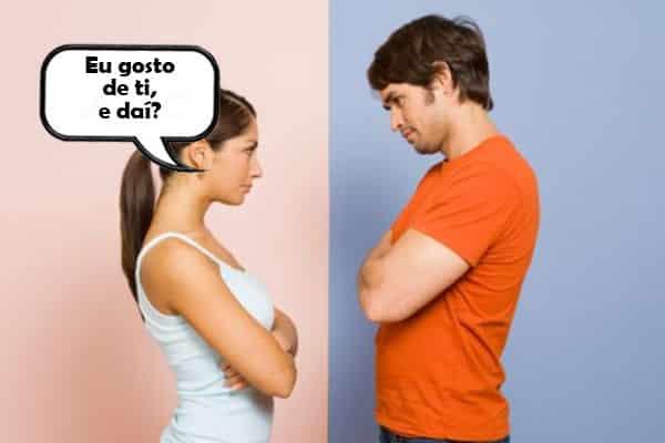 mulher dizendo para o homem que gosta dele